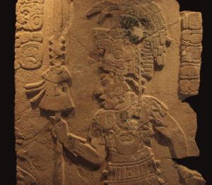 Der Maya Krieger Kan Balam II ist auf einem Steinrelief zu sehen.