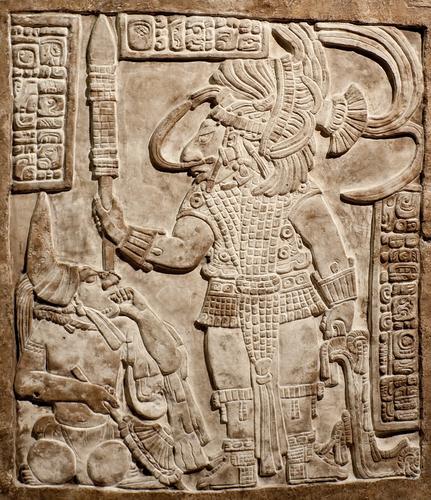 Maya Relief mit Maya Göttern